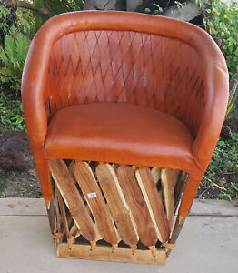 Mexican Equipale Woven Back Cushioned Chair - Brick 016B