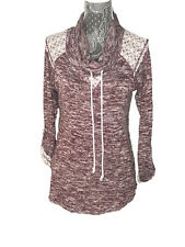 Chance Or Fate Noodie Maroon Sz S Lace Detail Marled Knitted Pullover