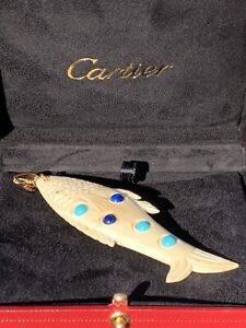 Cartier 18K Hand Carved Bone Fish Lapis Lazuli Turquoise Pendant OVERSIZED 4+ in