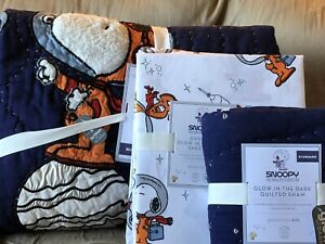 POTTERY BARN KIDS Glow in the Dark SNOOPY TWIN Space Quilt Sham & Sheets Set NEW