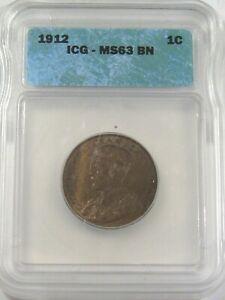 BU 1912 Large Cent CANADA George V ICG MS63 BN.  #19