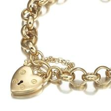 18K Yellow Gold GL Chunky Solid Women's Belcher Bracelet with Solid Style Heart