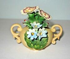 Vintage Capodimonte Small Vase Urn With Flowers Figurine
