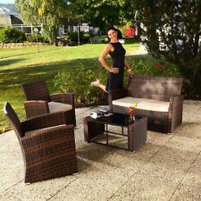Sitzgruppe Polyrattan Gartenmöbel Set Sitzgarnitur 4 tlg. Braun Beige Lounge