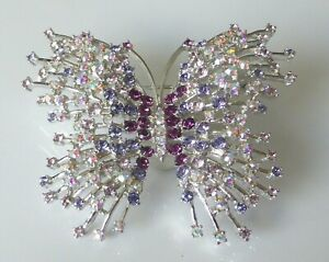 Fine Large NOLAN MILLER Silver Tone & Multi Crystal Glamour Butterfly Pin Brooch