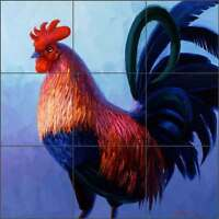 Rooster Tile Backsplash Mikki Senkarik Art Ceramic Mural MSA051