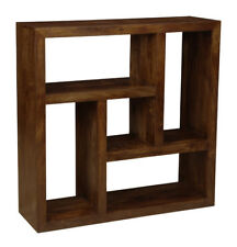 MANHATTAN DARK SOLID MANGO FURNITURE CENTERED SQUARE BOOKCASE (H33D)