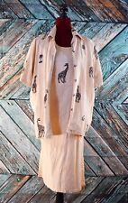 VTG Tropical Cotton Linen Summer Maxi Dress & Jacket Giraffe Palm Tree Africa L