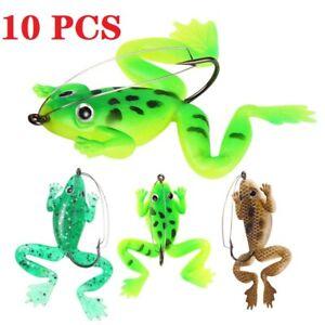 10pcs Thunder Frog Soft Lures 6cm 5.2g Topwater Bass Fishing Bait Crankbaits