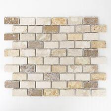 Mosaikmatte Brick Travertin Mix Tumbled Mosaikfliese Innen Außen Nass Boden NEU