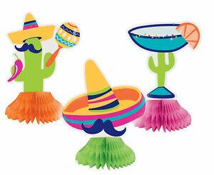 3 Mexican Fiesta Cactus Sombrero Cocktail Mini Honeycomb Party Table Decorations
