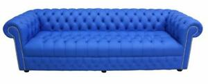 Chesterfield 4 Seater Buttoned Seat Ultramarine Blue Leather Sofa Settee DBB