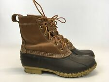 """LL Bean Womens Bean Boots Duck Boots Leather Brown 9.5"""" No Insole Damaged Size 9"""