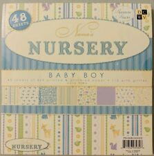 New Nana's Nursery Scrapbooking BABY Boy 48 Pages 8x8 Paper Pack Glitter DCWV