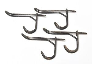 4 MATCHING VINTAGE BLACK FINISH METAL WIRE HAT OR COAT HOOKS