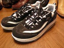 Skechers Women's Shape Ups Black & White Leather Lace Up Walking Sneakers 10