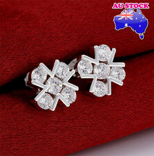 925 Sterling Silver Filled Stud Flower Earrings With Zircon Crystal