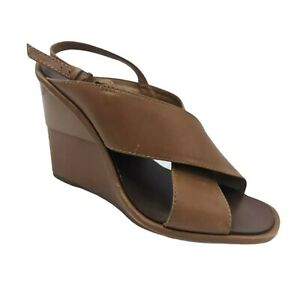 Tory Burch Shoes Size 9M Brown Wedges Open Toe Heels Leather Sole Slingback