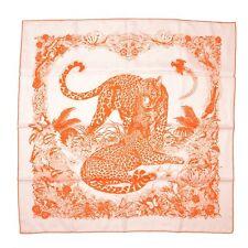 HERMES Auth Scarf Carre 90 JUNGLE LOVE TATOO Orange Silk Ladies FS NOS #0702