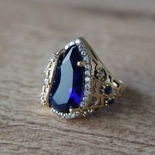 TURKISH HANDMADE STERLING SILVER 925K AND BRONZ SAPPHIRE RING SIZE 7,8,9