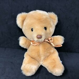 "Russ Honey Bear from Planters Orange Bow 8"" Tan Beige Stuffed Teddy #447 VTG"