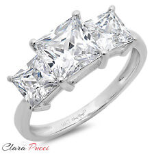 3.0 CT Three Stone Princess Cut Ring Engagement Wedding Band 14K White Gold