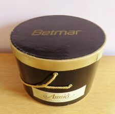 Vintage Hat Box Betmar Glossy Black Gold Satin Rope Large Annie's St. Paul Mn
