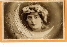 Surreal Fantasy Real Photo Postcard RPPC - Woman's Head and Moon and Snowflakes