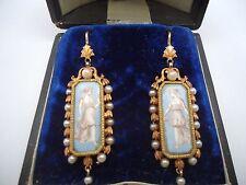 MAGNIFIQUE PAIRE PENDANTS ANCIENS XIX EME OR 18K ÉMAIL ET PERLES or 18 carats