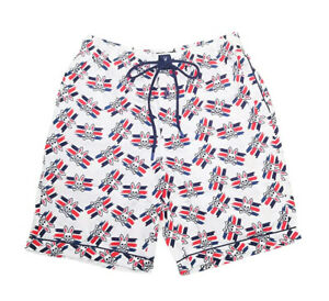 Psycho Bunny Men's White All Over Bunny Woven Jam Lounge Shorts
