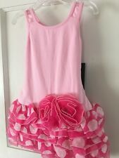 Isobella and Chloe Girls Pink Dotted  Ruffled Drop Waist Dress Size 12M-New