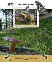Central African Rep Mushrooms Stamps 2020 MNH Fungi Butterflies Nature 1v S/S
