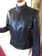 Ladies M&S black real leather BIKER JACKET size UK 18 16 Large XL bomber