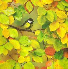 3 x Single Paper Napkins For Decoupage Autumn Yellow Leaves Titmouse Bird M907