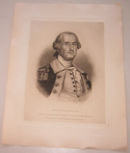 Antique 1888 etching of George Washington by Albert Rosenthal, listed