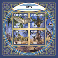 Sierra Leone 2017 MNH Bats Bat 4v M/S Flying Mammals Wild Animals Stamps