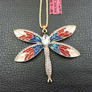 Cute Blue Red Dragonfly Bling Crystal Betsey Johnson Pendant Women Necklace