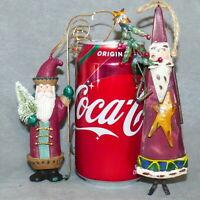 "Christmas Ornament WOOD Santa Old Fashioned 6"" Lot of 2 USA SELLER"