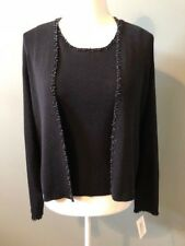 Sigrid Olsen Womens Cardigan Sweater and Cami Set Size S Black Beaded Shimmer