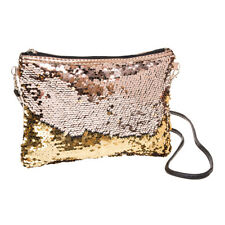 Blue Banana Two Way Sequin Sparkling Party Womens Gold Clutch Bag/Evening Purse