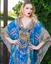 NEW Women's long Kaftan Dress Boho Beach dress with embellished neckline