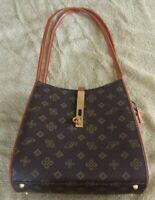Vintage ~ Small Size Leather Hand Bag ~ Brown Geometric Design ~ Nice