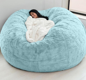 7-foot giant fur bean sandbag cover living room big round soft without padding