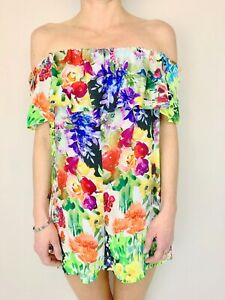 ZARA WOMAN floral off the shoulder romper playsuit size small NWT
