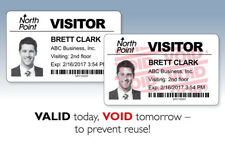 6,000 FULL-Expiring Visitor Badges (clip-on/24 rolls) for Brother Label Printers
