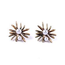 E1841 Women New Styles Modern Elegance RUSSIAN GOLD STARBURST BUTTON EARRINGS
