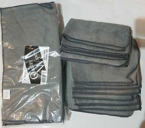 10 x Grey Microfibre Cleaning Cloths Car Bathroom Polishing Cloth 40x40cm