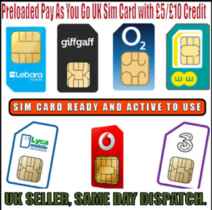 Preloaded Pay As You Go UK Sim Card with £5/£10 Credit For EE O2 Vodafone Lyca