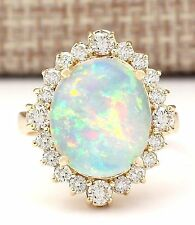6.53CTW NATURAL OPAL AND DIAMOND RING IN 14K YELLOW GOLD