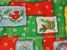 Christmas Trees Holly Cardinals Green 100% Cotton Fabric Gold Metallic Half Yd